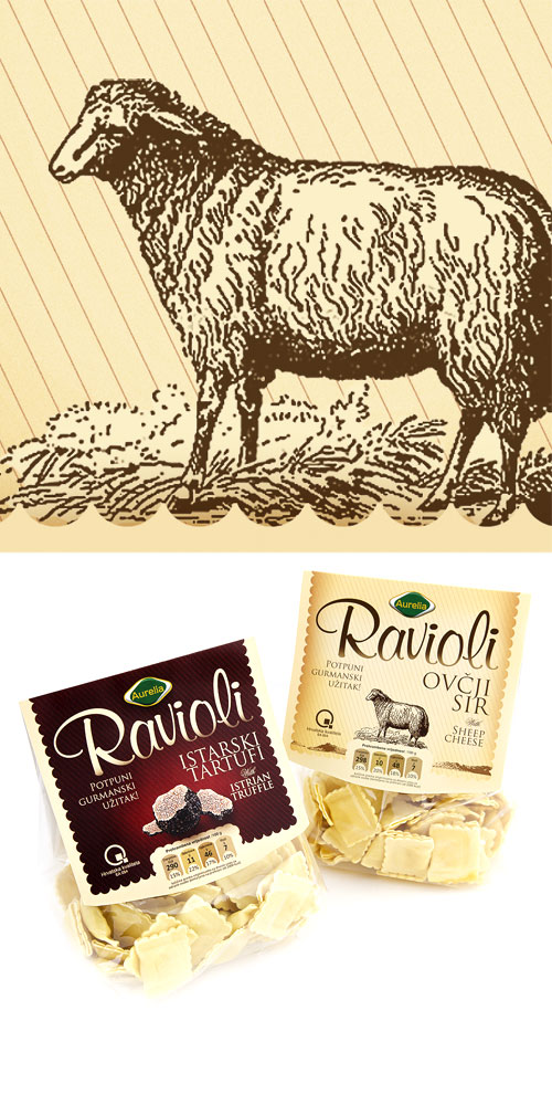 AURELIA ravioli - Packaging design for a series of products Bernardić studio