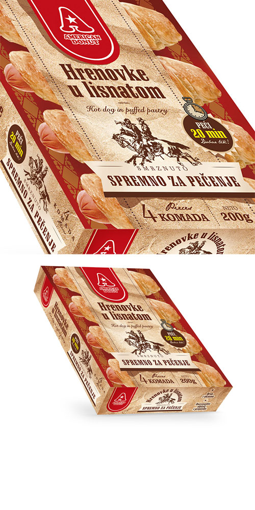 puff pastry hot dog - packaging design - Bernardić studio