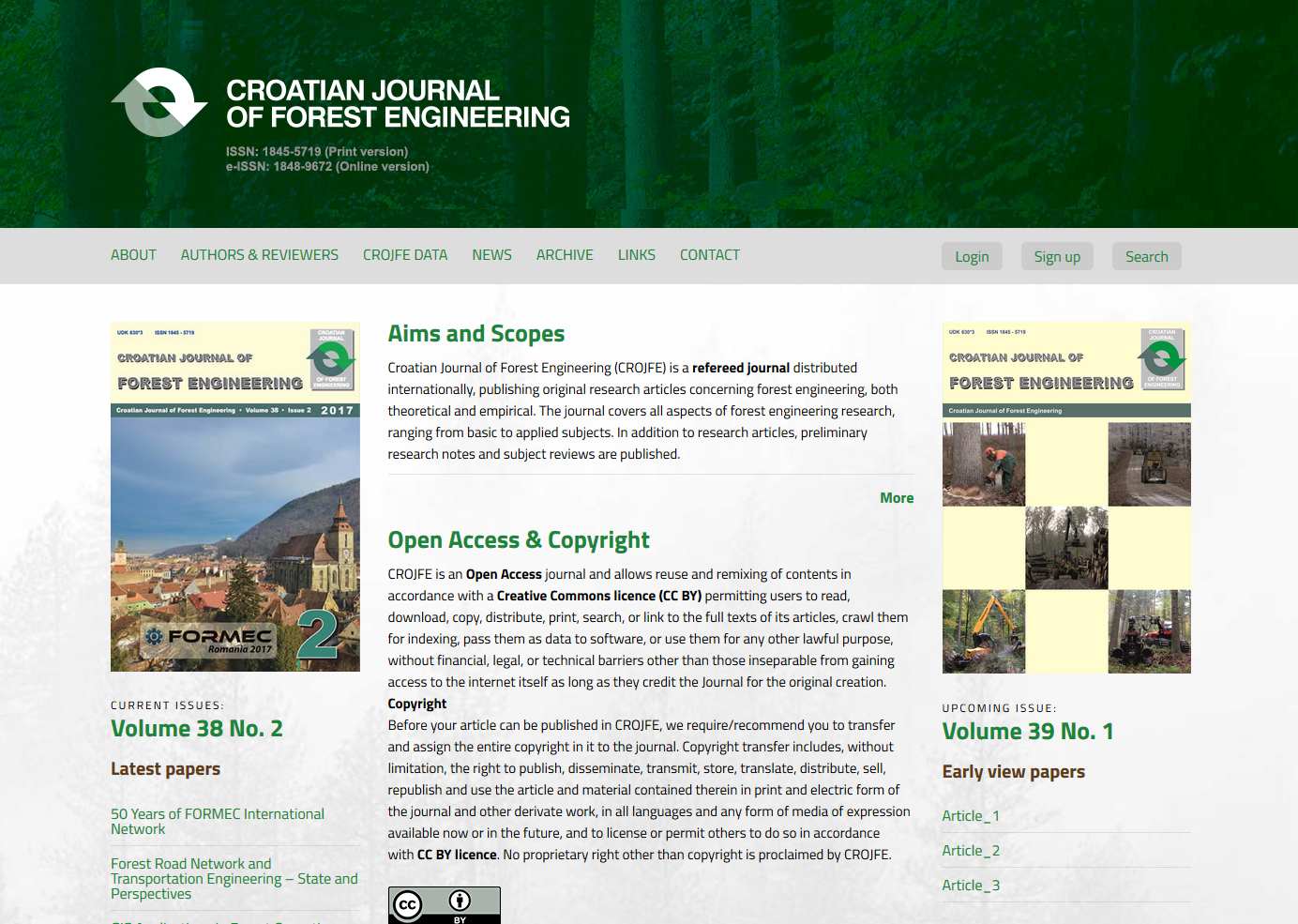 Graphic and web design - CROJFE  Croatian Journal of Forest Engineering of the Forestry Faculty in Zagreb - BERNARDIĆ STUDIO